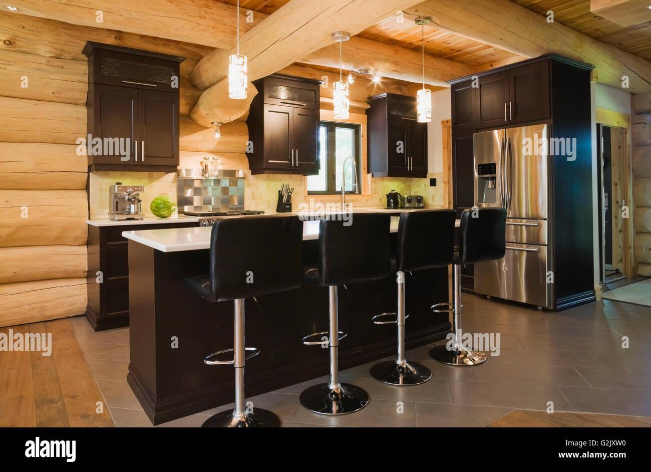 White Quartz Countertop Island Black Leather Bar Chairs In Kitchen