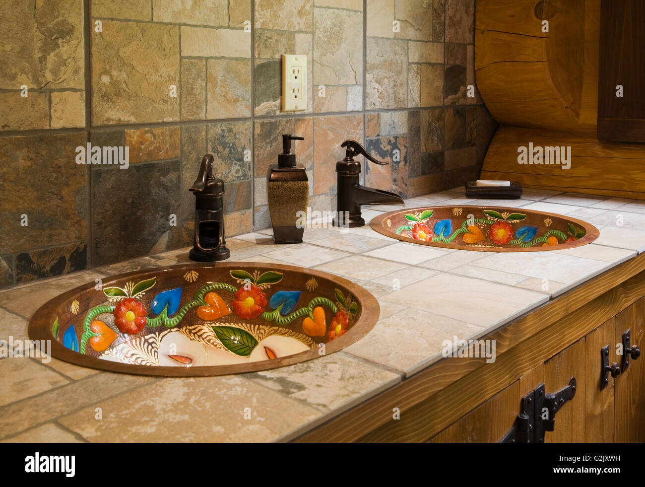 Ceramic tile countertop inlaid hand painted copper sinks in main ceramic tile countertop inlaid hand painted copper sinks in main bathroom inside a handcrafted red cedar log home quebec canada dailygadgetfo Image collections