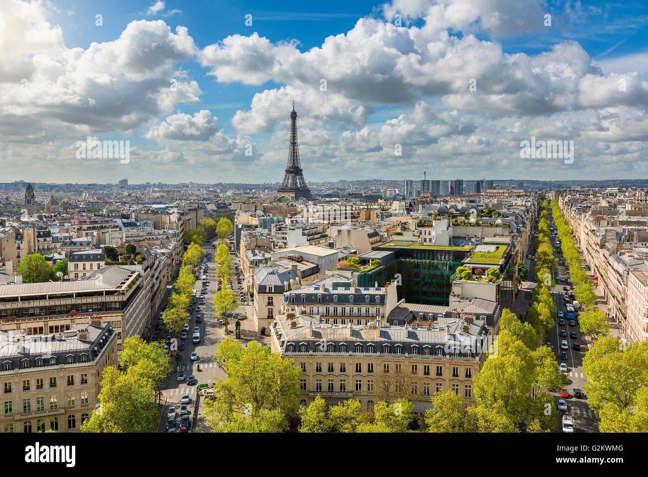 Skyline of Paris with Eiffel Tower - Stock Image