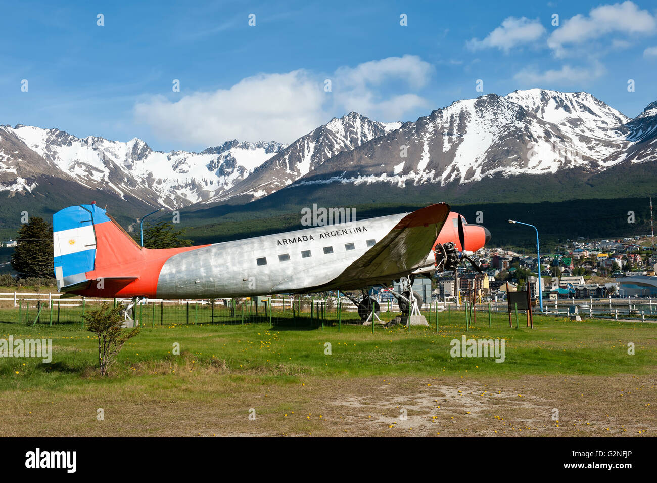 DC-3 plane Cabo de Hornos, One of the first Argentinean planes to fly to Antarctica in the sixties, Ushuaia, Argentina - Stock Image
