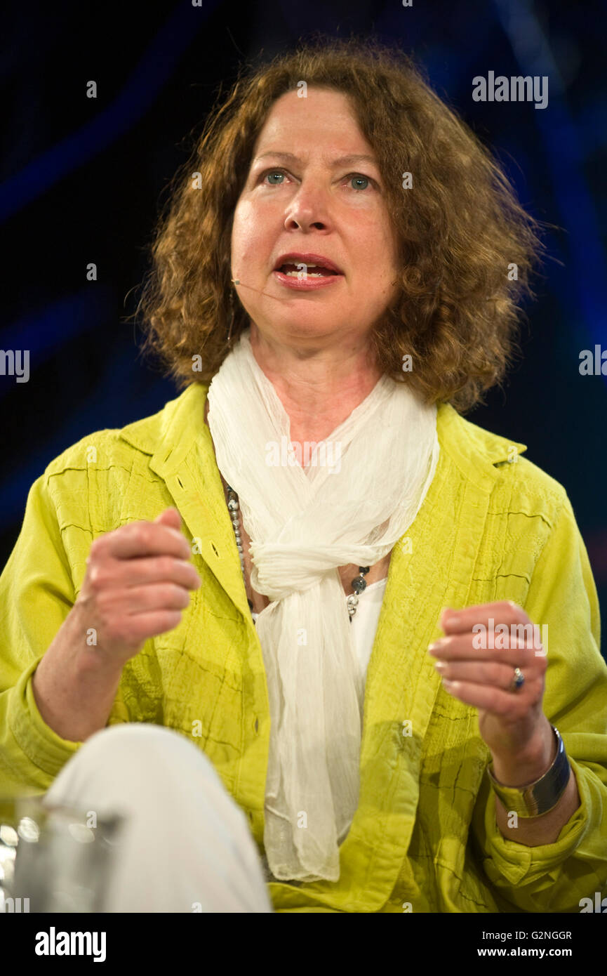 Claire Harman author biographer speaking on stage about Charlotte Bronte at Hay Festival 2016 - Stock Image