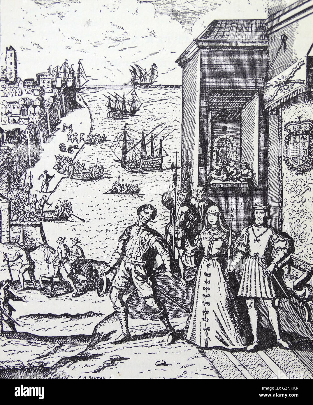 The parting of Columbus with Ferdinand and Isabella - Stock Image