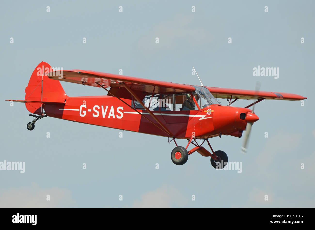Piper PA-18 Super Cub is a two-seat, single-engine monoplane. Introduced in 1949 by Piper Aircraft, this is a 1961 Stock Photo