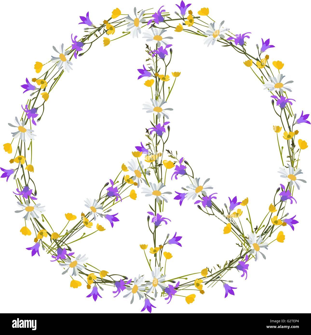 Flower Power Peace Symbol Isolated Vector Stock Vector Art