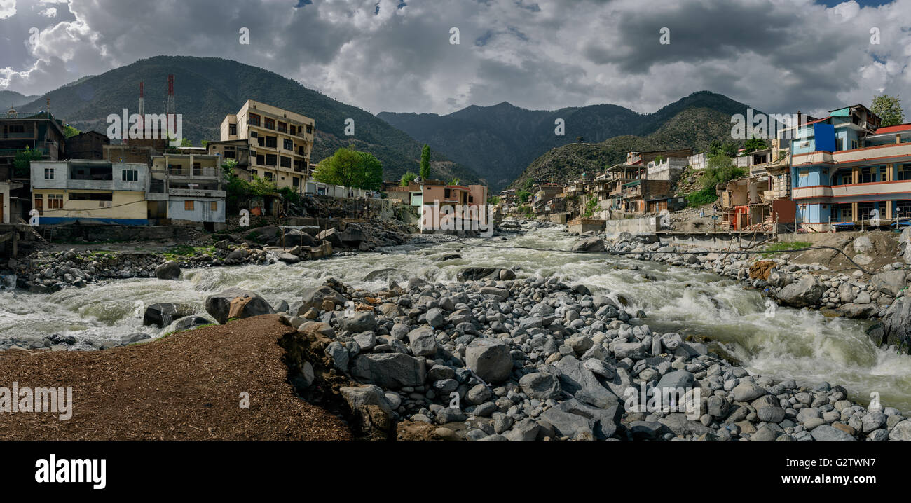 Bahrain village is in Swat valley famous for tourism and natural beauty,Landscape of Nothern Pakistan. - Stock Image