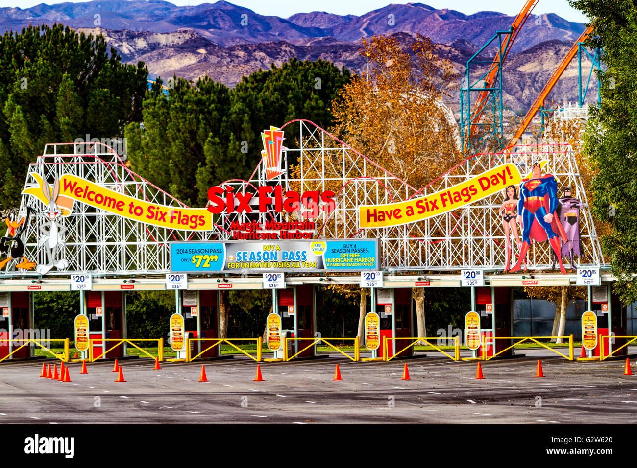 The entrance to Six Flags Magic Mountain in Santa Clarita California Stock Photo