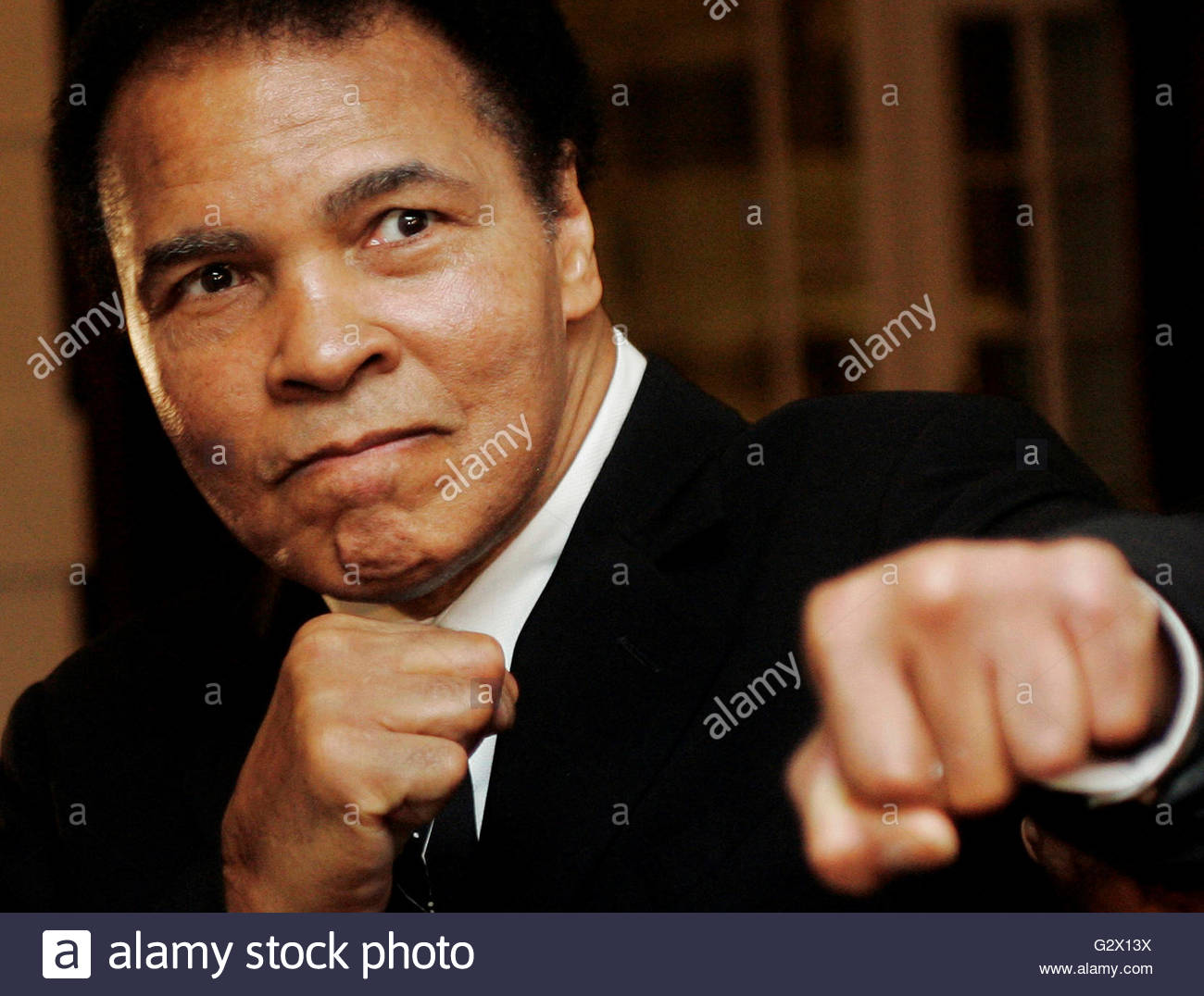 U.S. boxing great Muhammad Ali poses during the Crystal Award ceremony at the World Economic Forum (WEF) in Davos, - Stock Photo