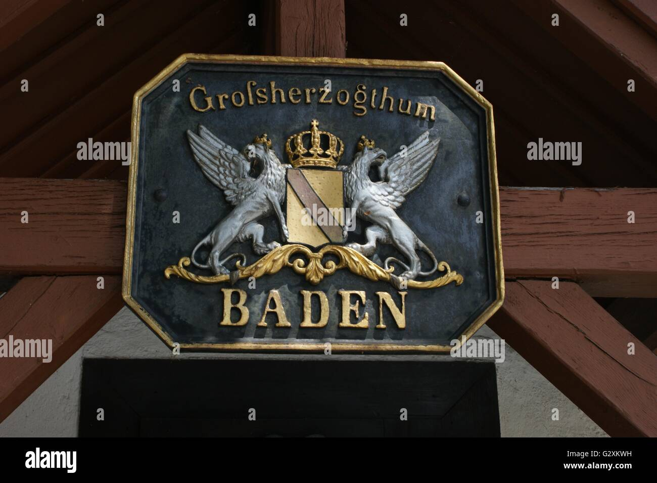 SONY DSC coat of arms, Baden, Germany on the Rhine near Kaisersthul, Switzerland - Stock Image