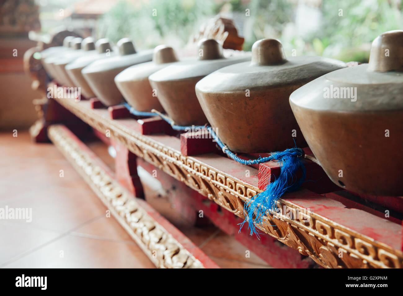 "Traditional balinese percussive music instruments instruments for ""Gamelan"" ensemble music, Ubud, Bali, Indonesia. Stock Photo"