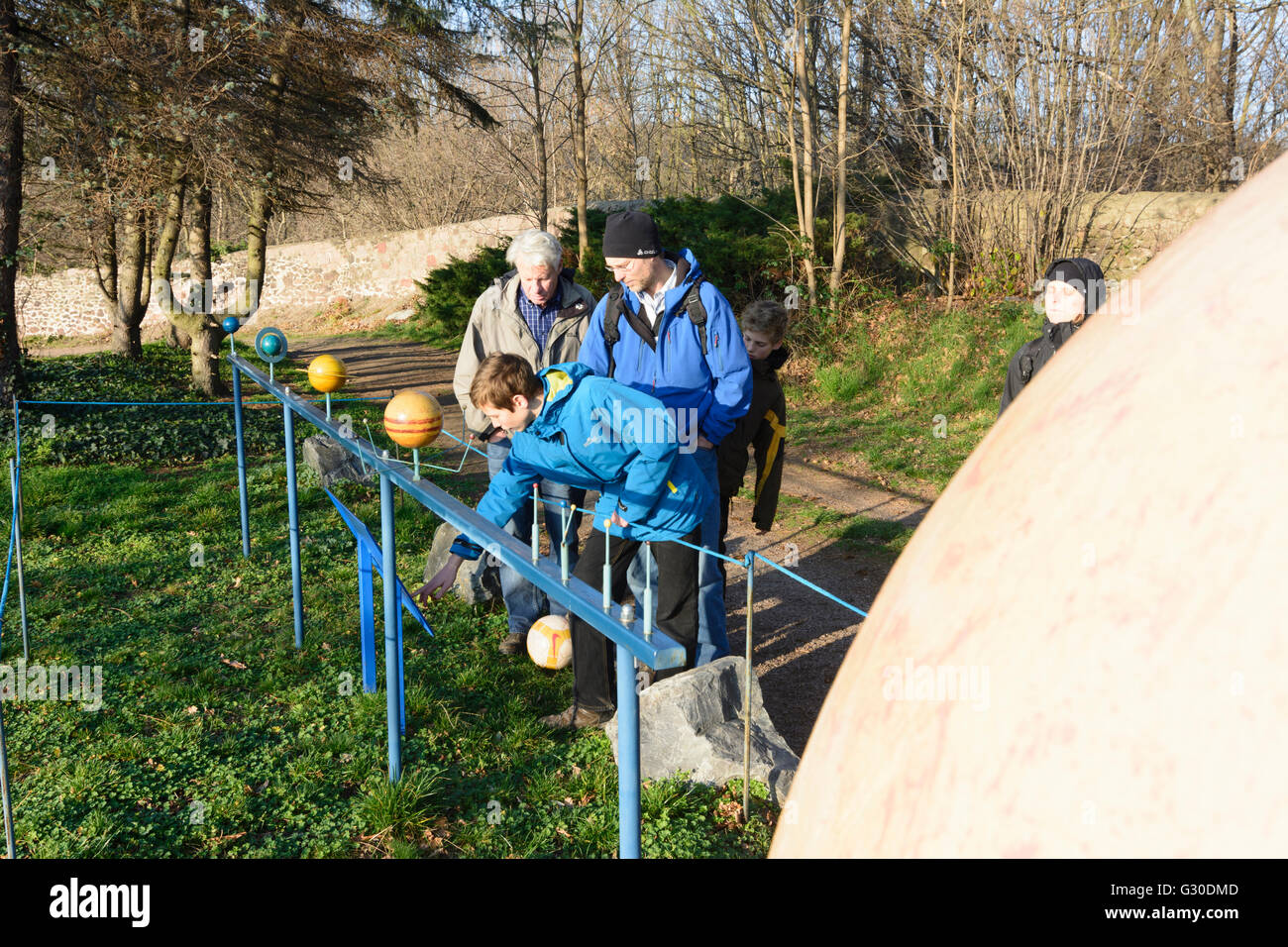 lineup of planets (front the sun ) at the observatory with visitors, Germany, Sachsen, Saxony , Radebeul - Stock Image