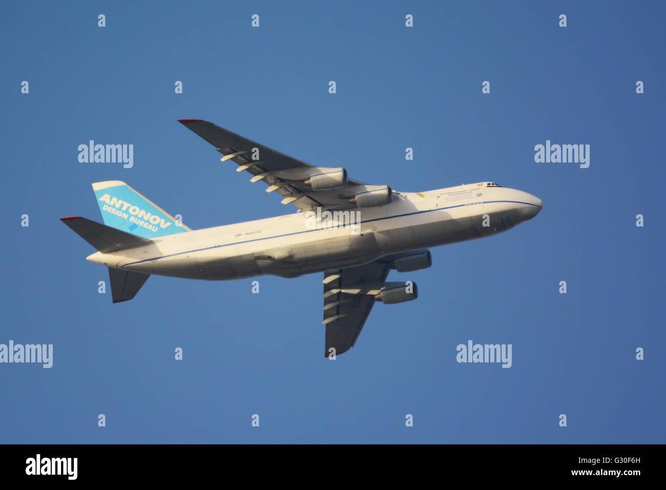 Antonov Cargo airplane in mid air - Stock Image