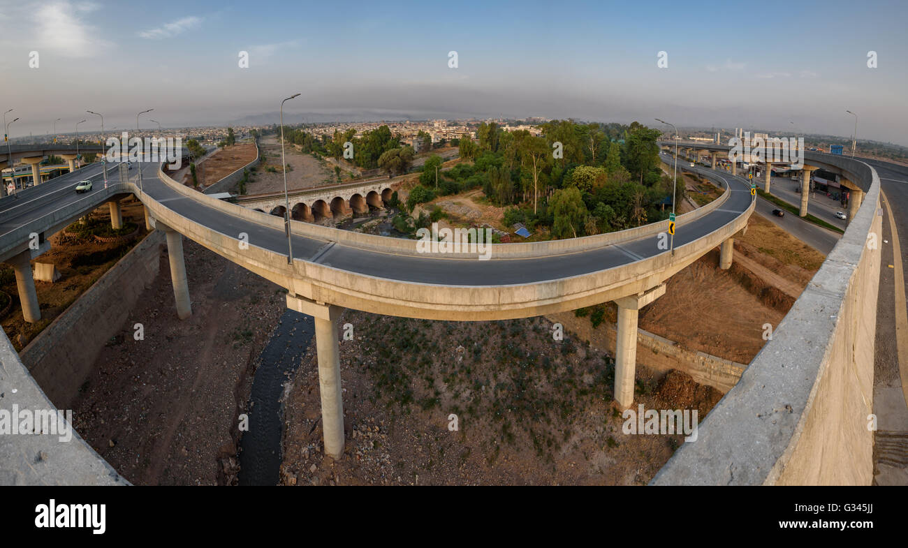 Bab e Peshawar is a fly over in Peshawar Pakistan which is the country's second multi-level flyover - Stock Image