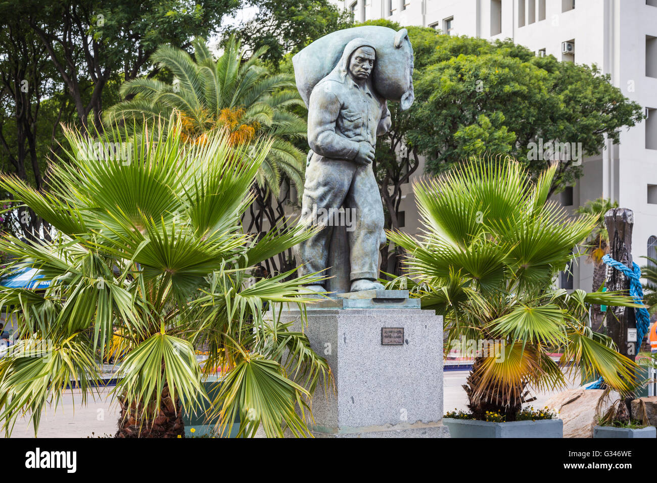 A workers statue in Montevideo, Uruguay, South America. - Stock Image