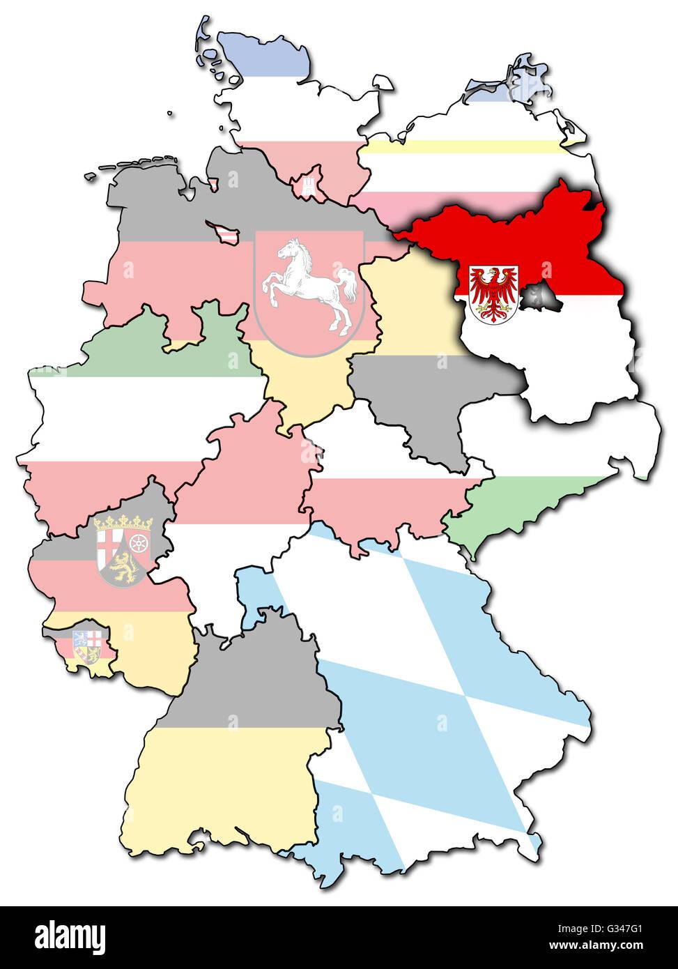 Brandenburg on old administration map of german provinces states