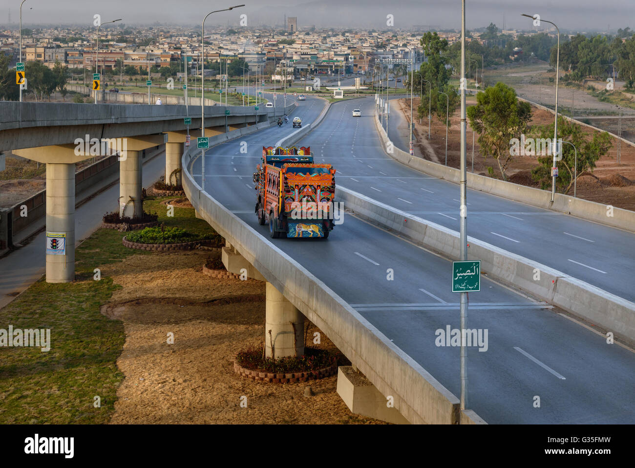 The flyover in Peshawar Pakistan would regulate traffic flow on Pak-Afghan highway. - Stock Image