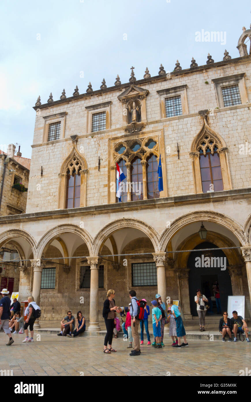 Sponza palace, Luza square, Grad, the old town, Dubrovnik, Dalmatia, Croatia - Stock Image