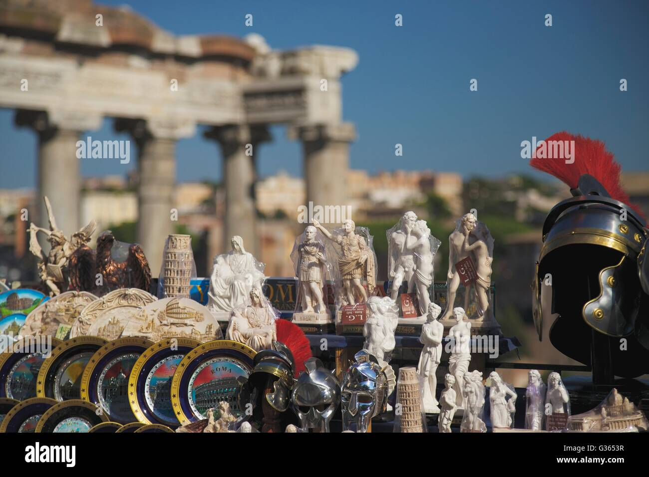 Souvenirs for sale in the Roman Forum, Rome, Italy, Europe - Stock Image