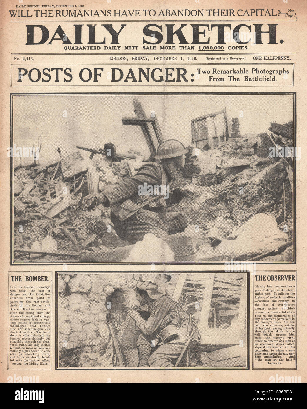 1916 Daily Sketch front page Action photos from the battlefront - Stock Image