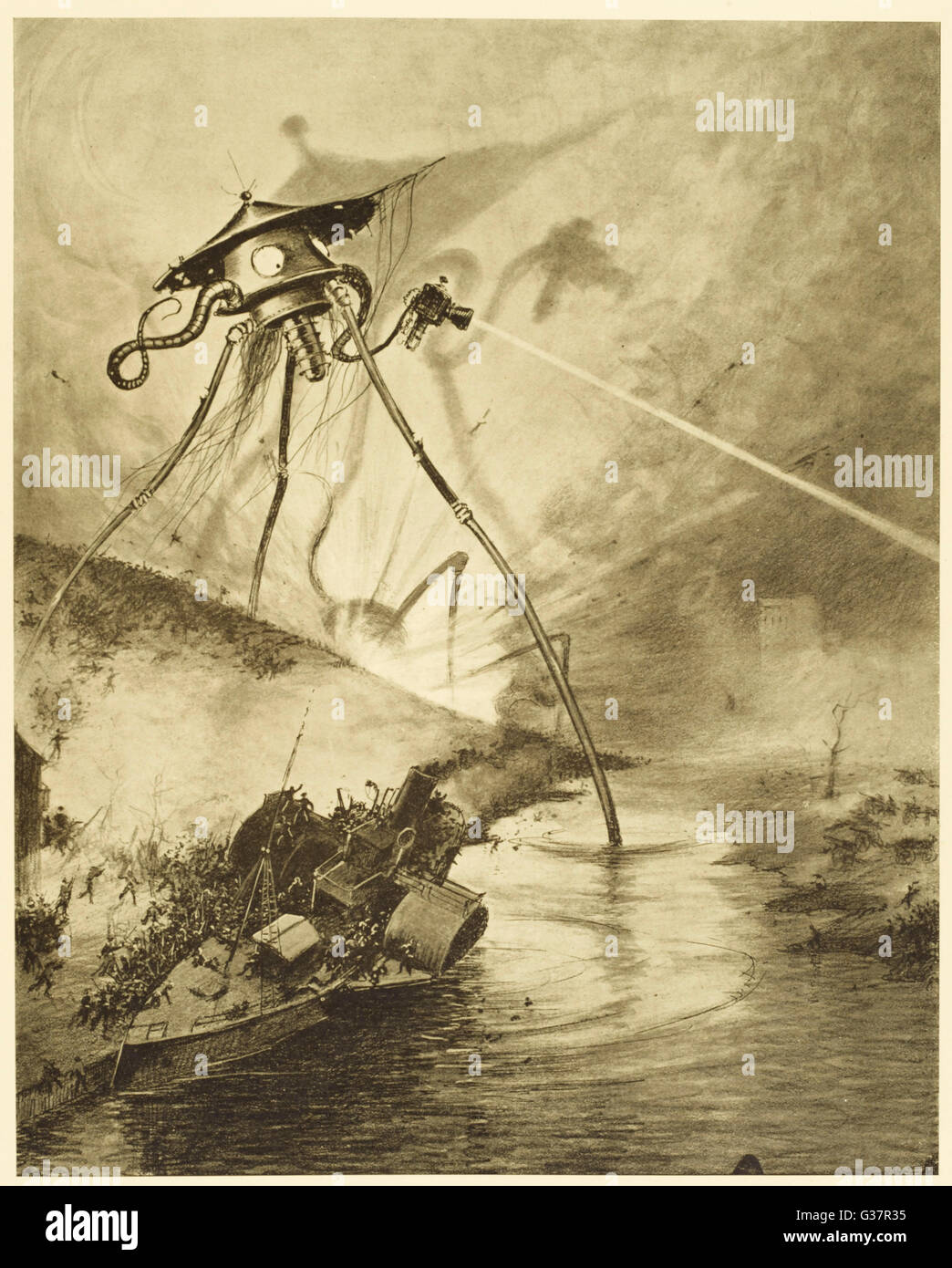 'THE WAR OF THE WORLDS'  The Martian fighting-machines  in the Thames Valley    First published: 1898 Stock Photo