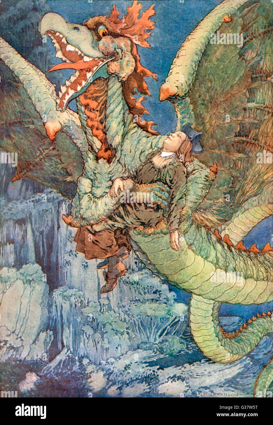 A dragon-like Gryphon takes to  the air with a sleeping victim         Date: 1887 - Stock Image