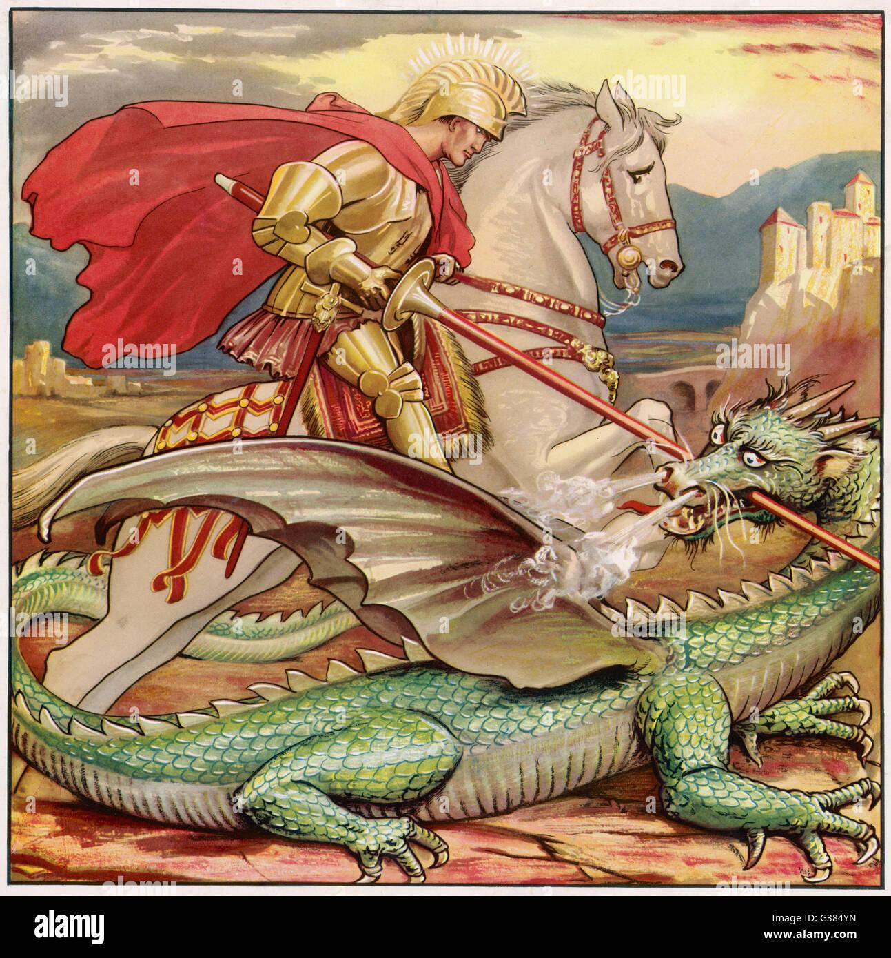 SAINT GEORGE  Slays the dragon - Stock Image