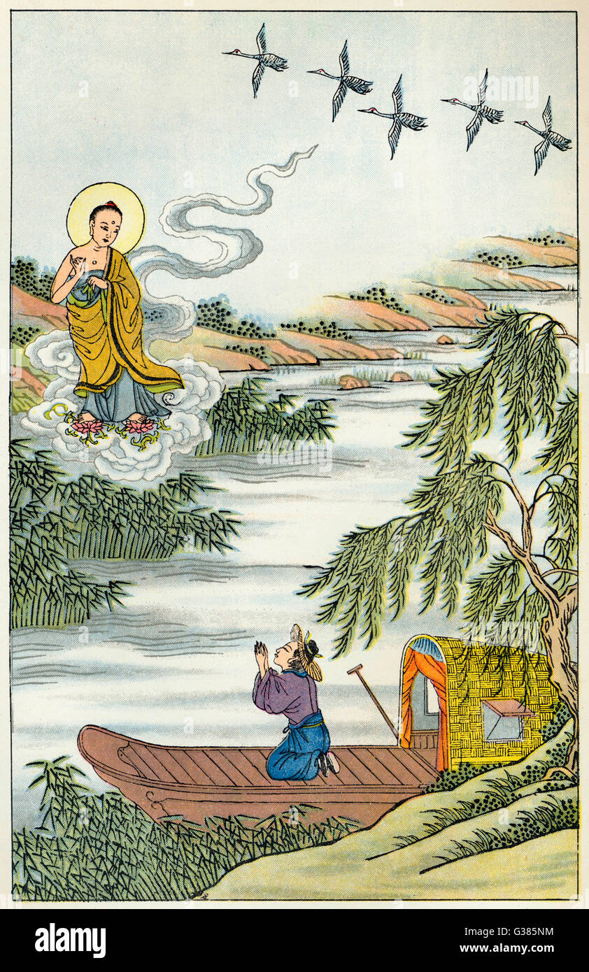 The Buddha, needing to cross  the Ganges, summons a little  cloud which dutifully ferries  him over Stock Photo