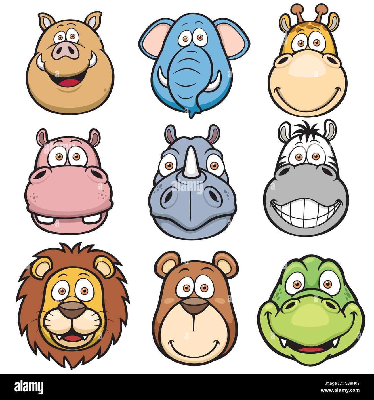 vector illustration of wild animals faces cartoons stock vector art
