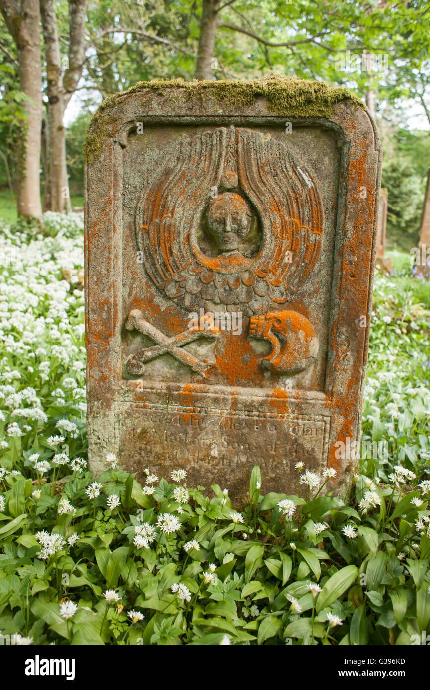 Elaborately Carved Symbols Of Death On Gravestone In Kirkcolm Old