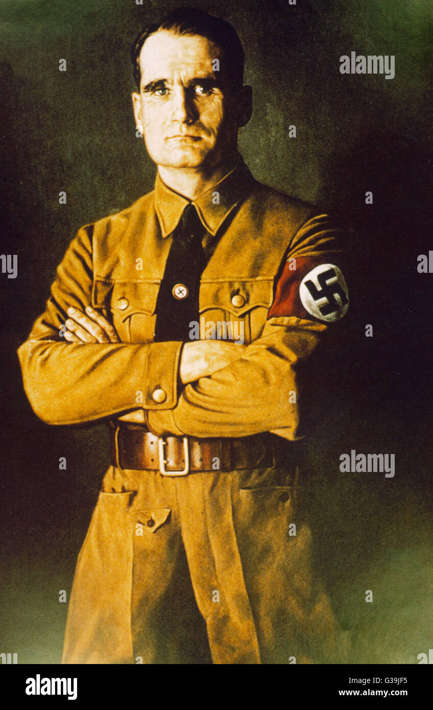 (WALTER RICHARD) RUDOLF HESS German Nazi leader; flew to  Britain without Hitler's  knowledge in 1941 to attempt Stock Photo