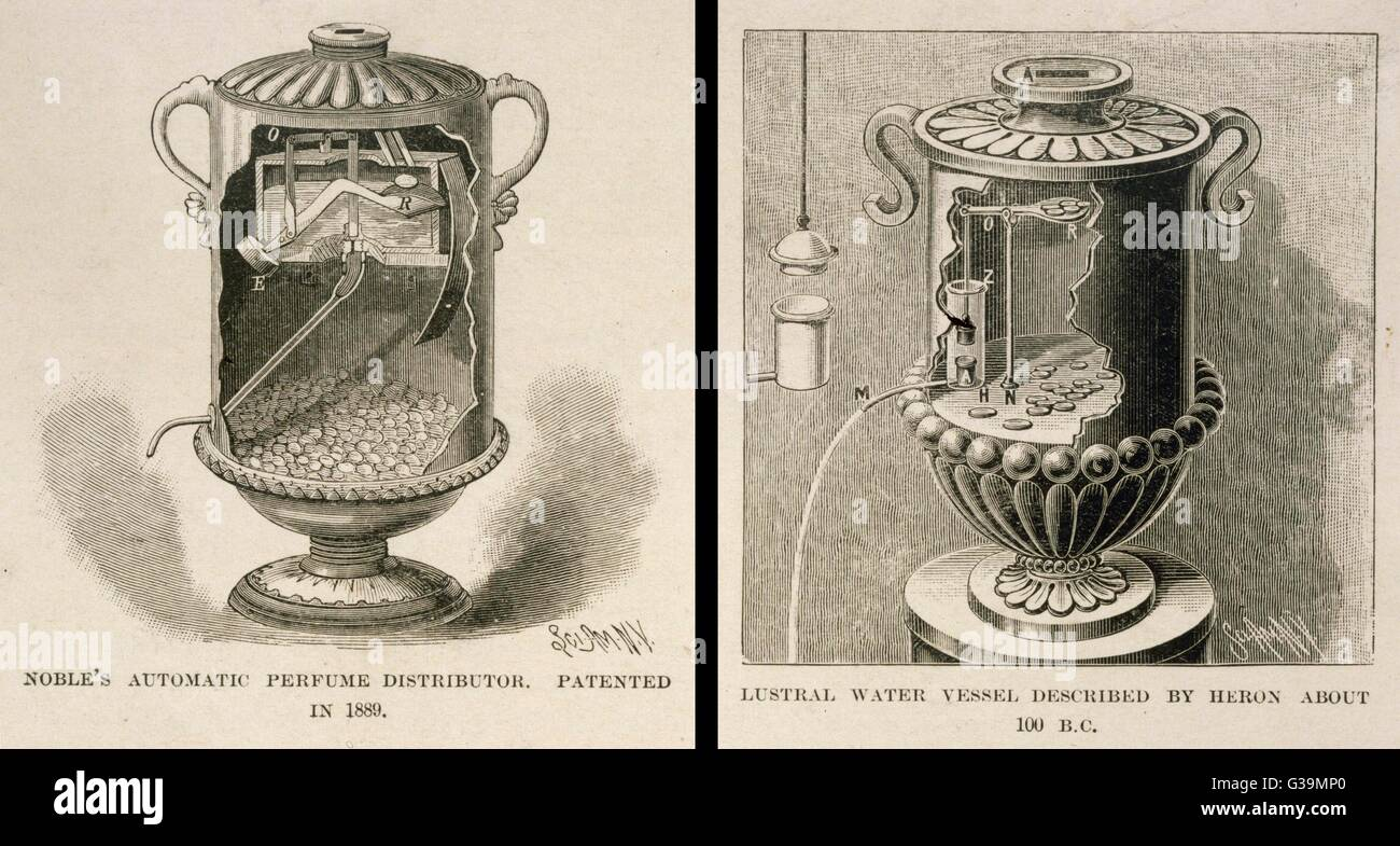 Coin-in-the-slot scent  dispenser, patented 1889,  operates on the same  principles as holy water  dispenser by Stock Photo