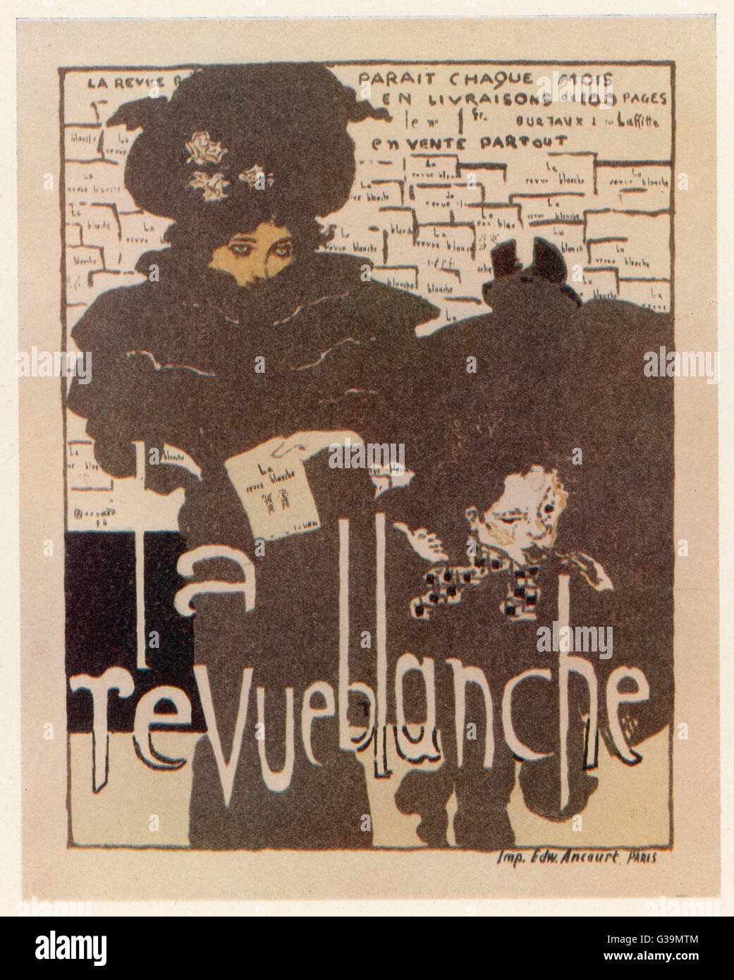 Poster advertising French  magazine 'La Revue Blanche'         Date: 1894 - Stock Image