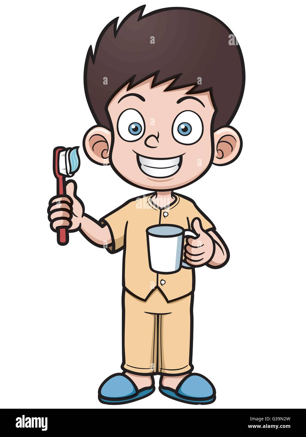 vector illustration of boy brushing his teeth stock vector art