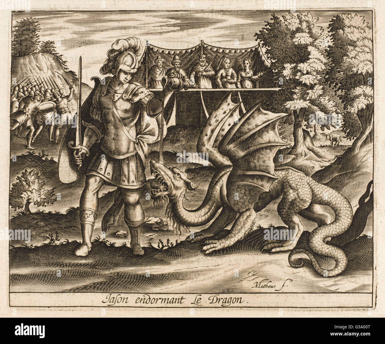 He subdues the dragon that  guards the Golden Fleece - Stock Image