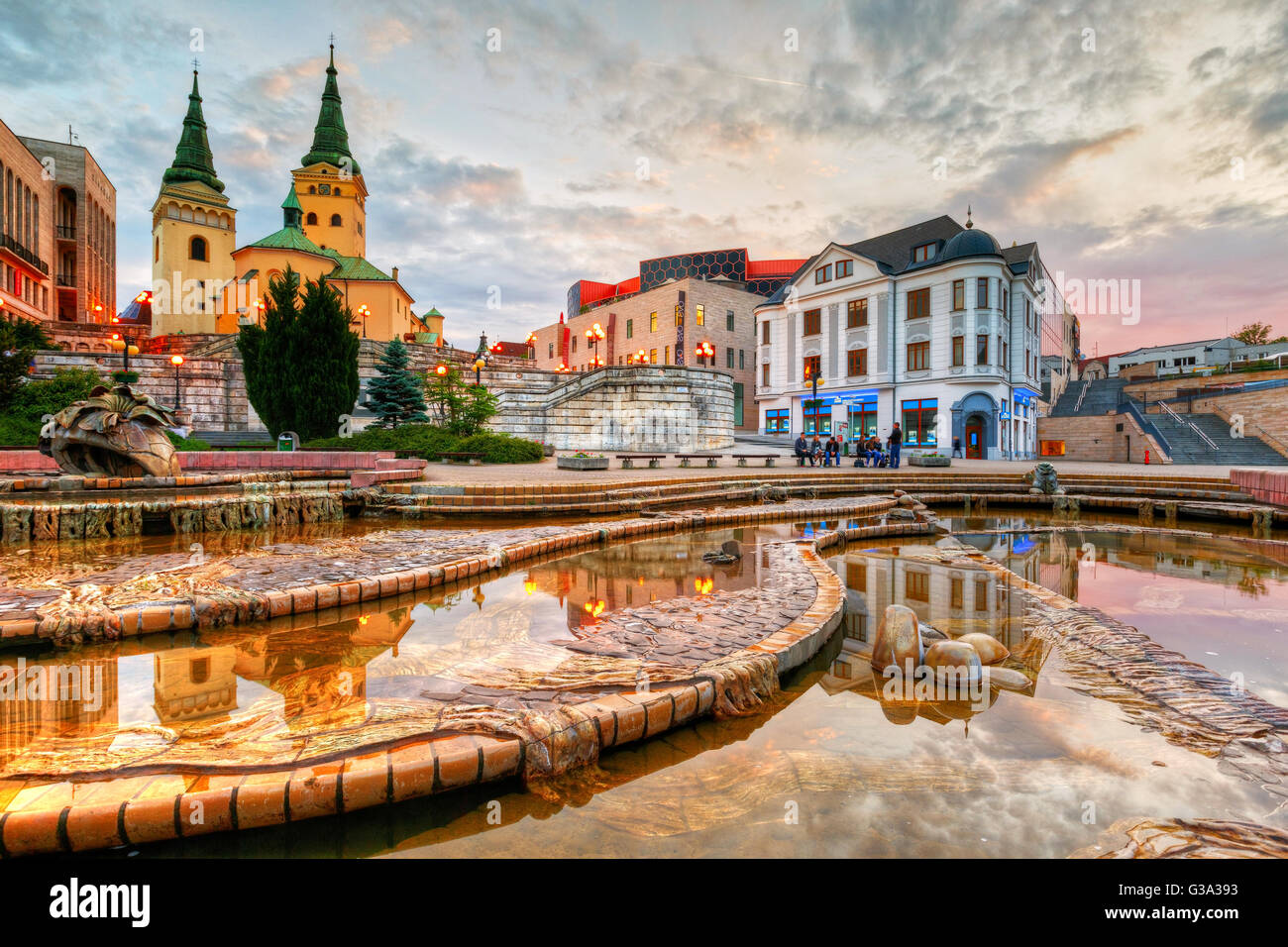 Main square in the city of Zilina in central Slovakia. HDR image. - Stock Image