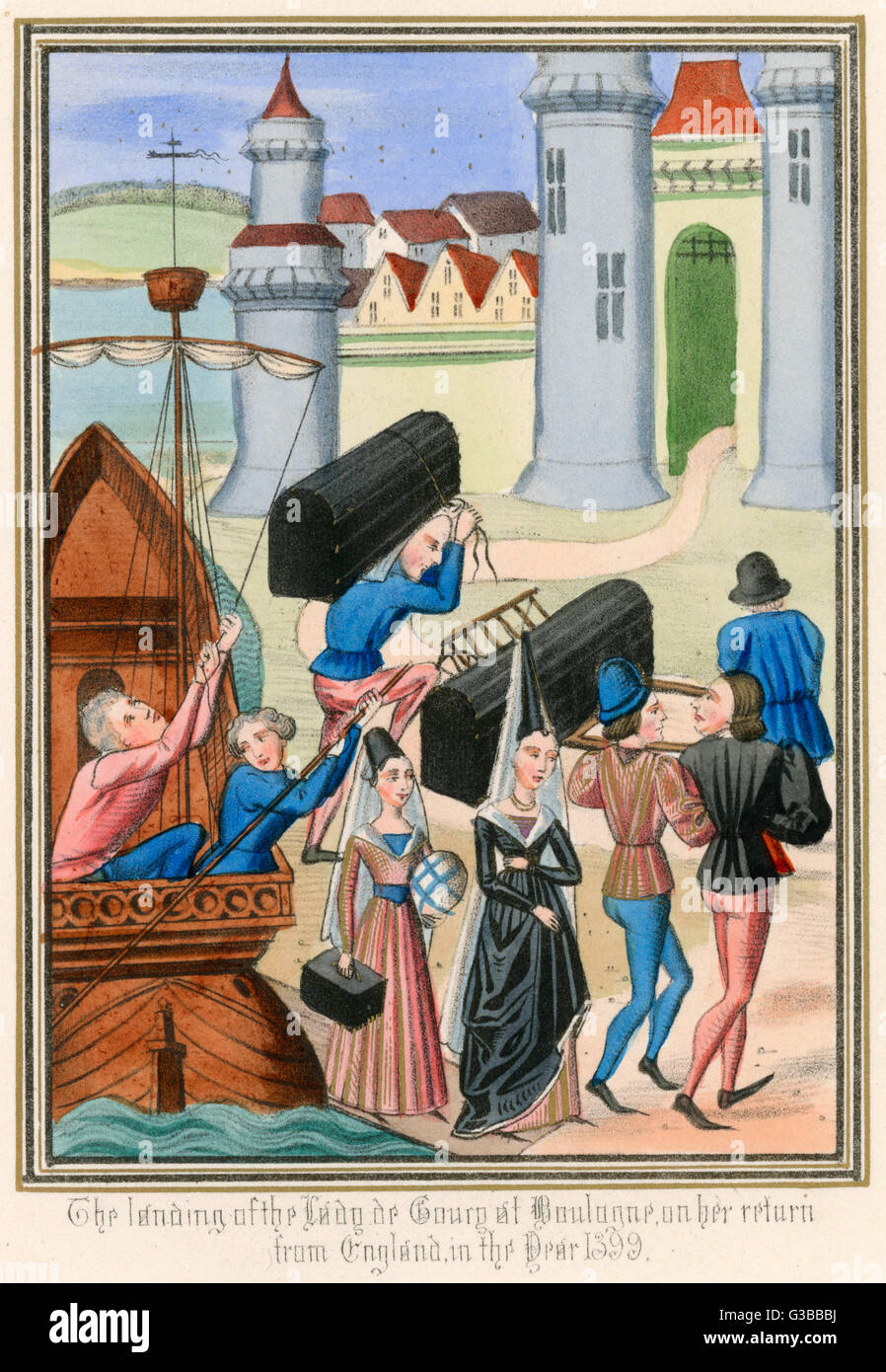 La Dame De Courcy One Of Queen Isabellas Attendant Ladies Returns To France When King Richard Ii Is Deposed She And Her Luggage Are Seen Landing At