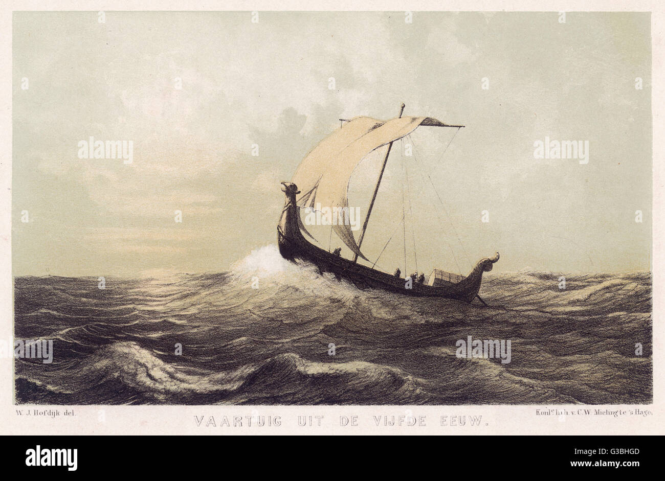 A Viking vessel heads out into  the open sea, her sail  bellying out before a  favouring wind.      Date: 8th-9th Stock Photo