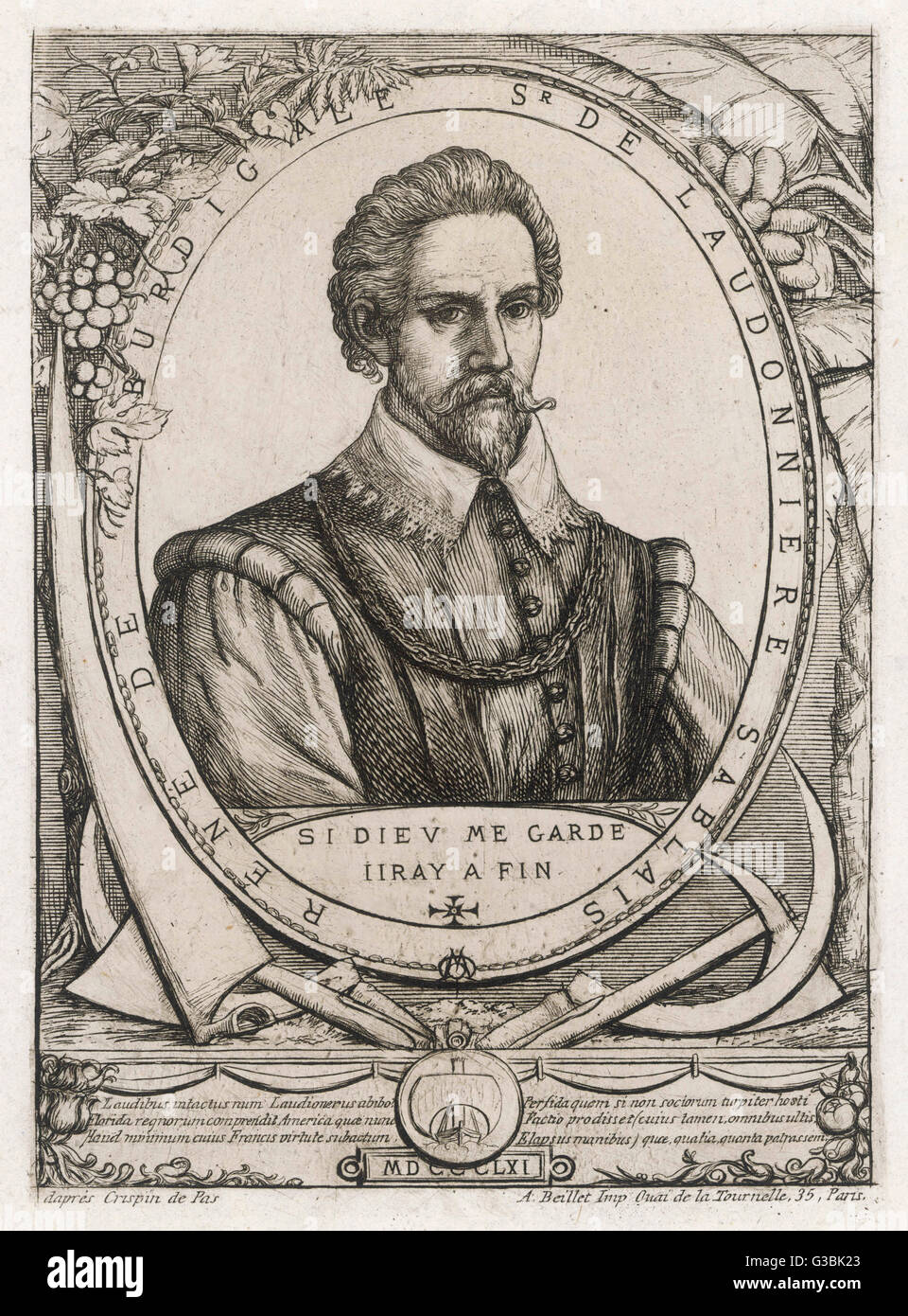 RENE de GOULAINE de  LAUDONNIERE French seaman, founded a  protestant colony in Florida  but it was destroyed by Stock Photo