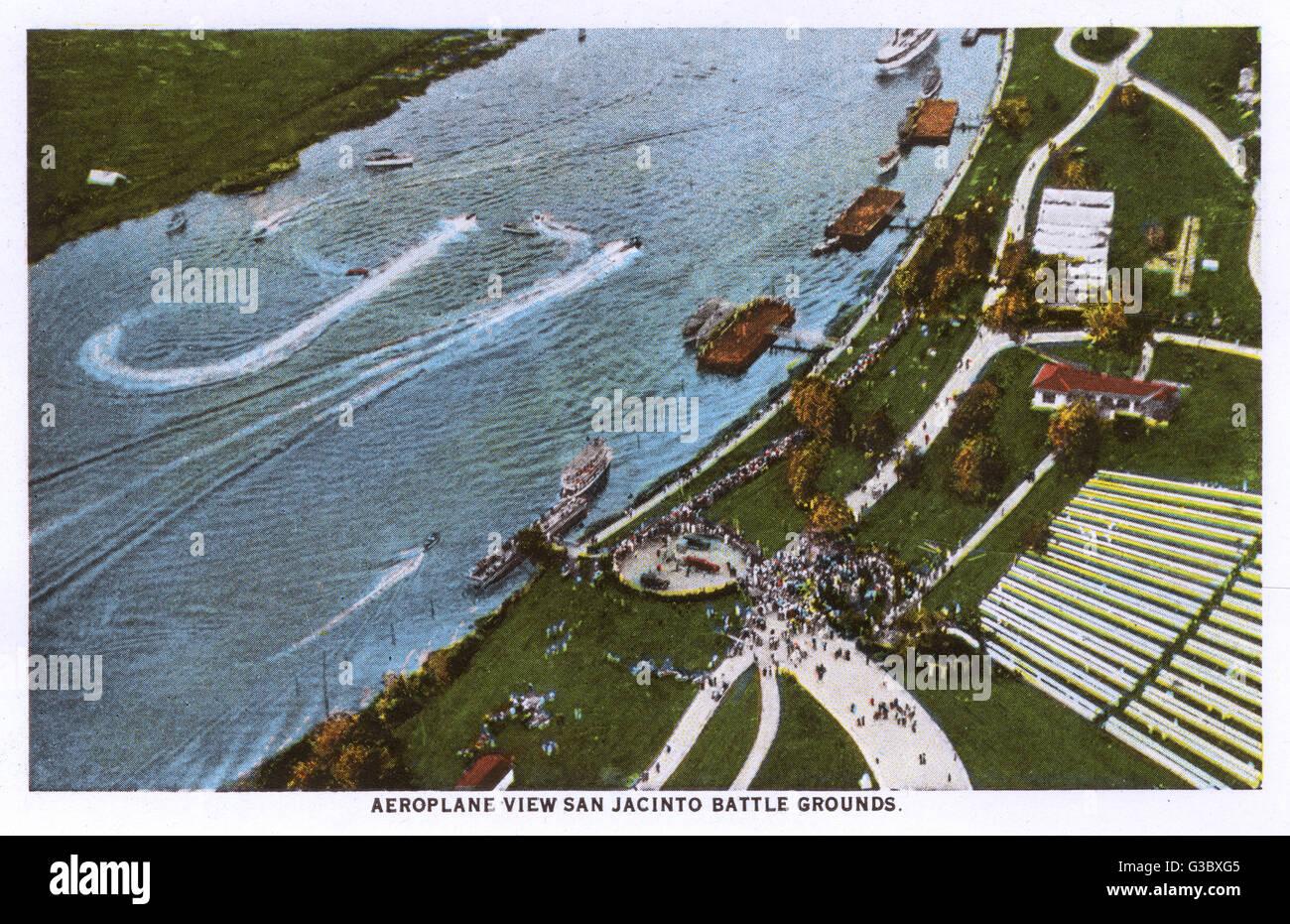 Aerial view, taken from an aeroplane, of the San Jacinto Battleground historic site, Houston, Texas, USA.  The battle - Stock Image