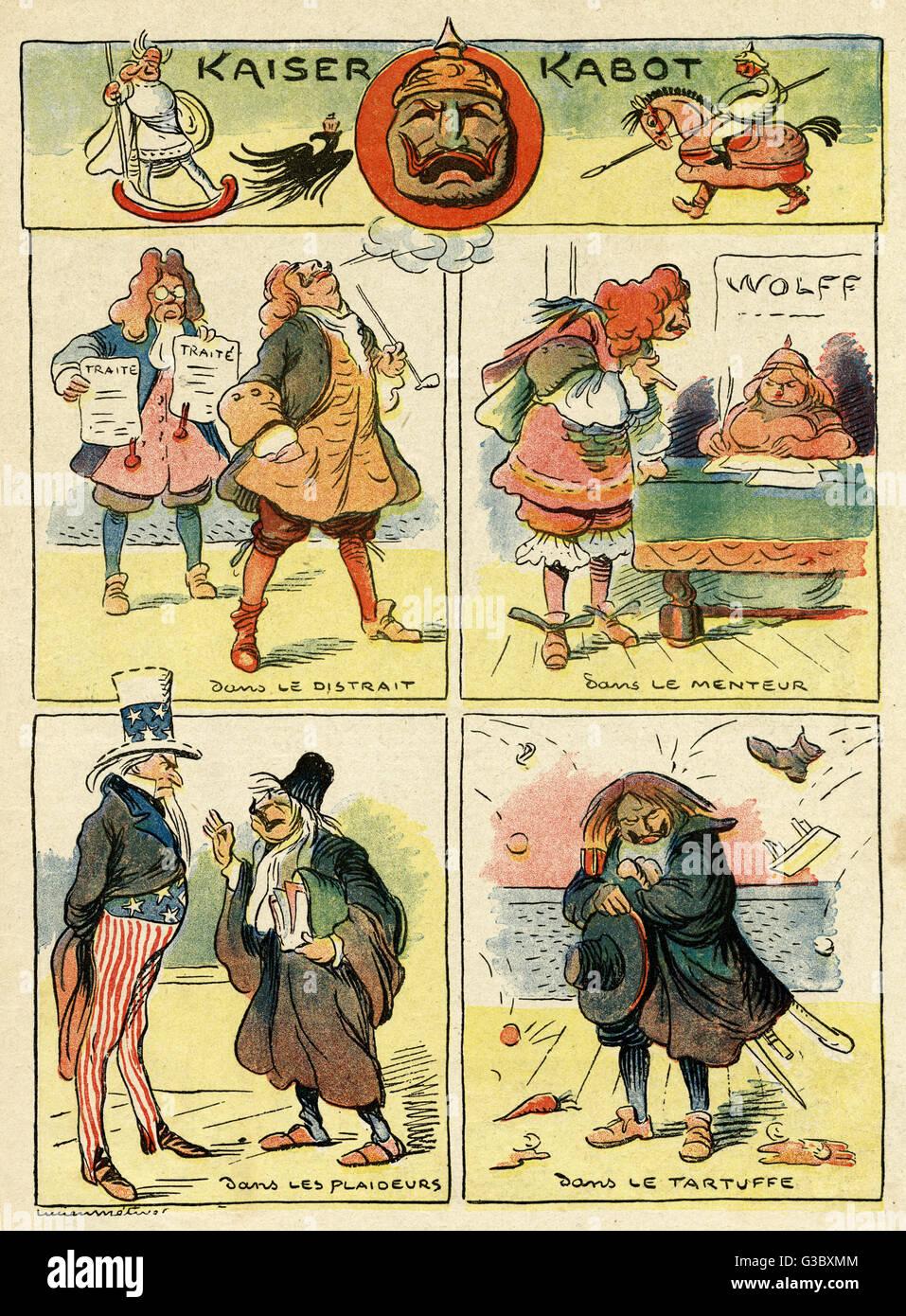 Cartoon, Kaiser Kabot (Kaiser Wilhelm II, the ham actor), showing the German Kaiser in four different theatrical - Stock Image