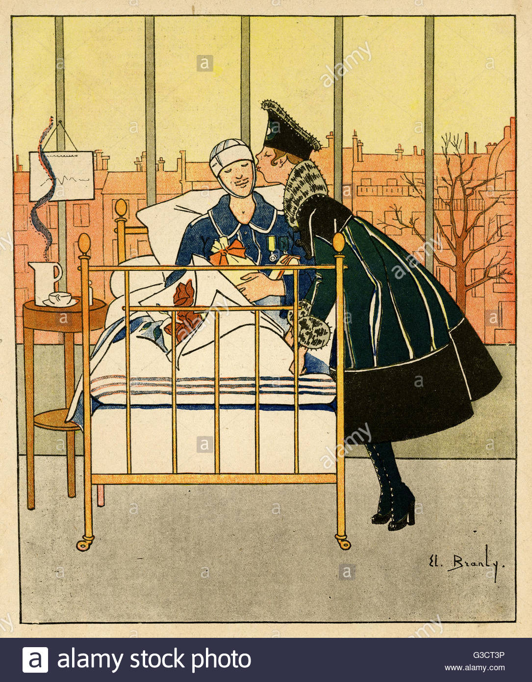 Cartoon, A Soldier In A Hospital Bed Receives A Visit From His U0027godmotheru0027,  Who Brings Him A Welcome Christmas Present. Date: 1916