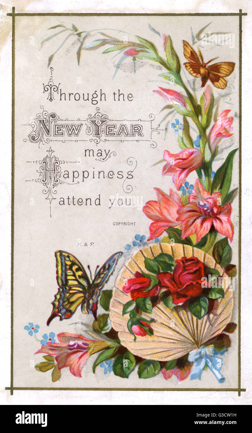 A small New Years Greetings card featuring a Swallowtail Butterfly ...