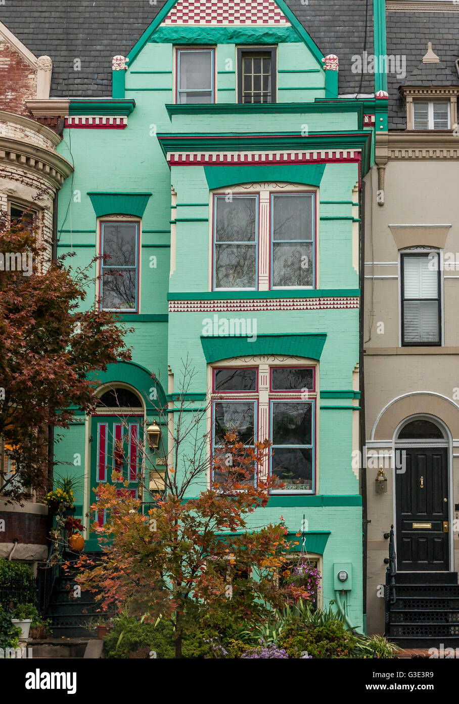 A green painted House with grey slate roof tiles In Georgetown Stock ...