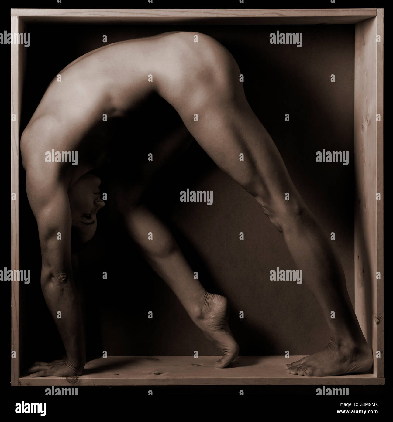 Naked woman stretching in box - Stock Image