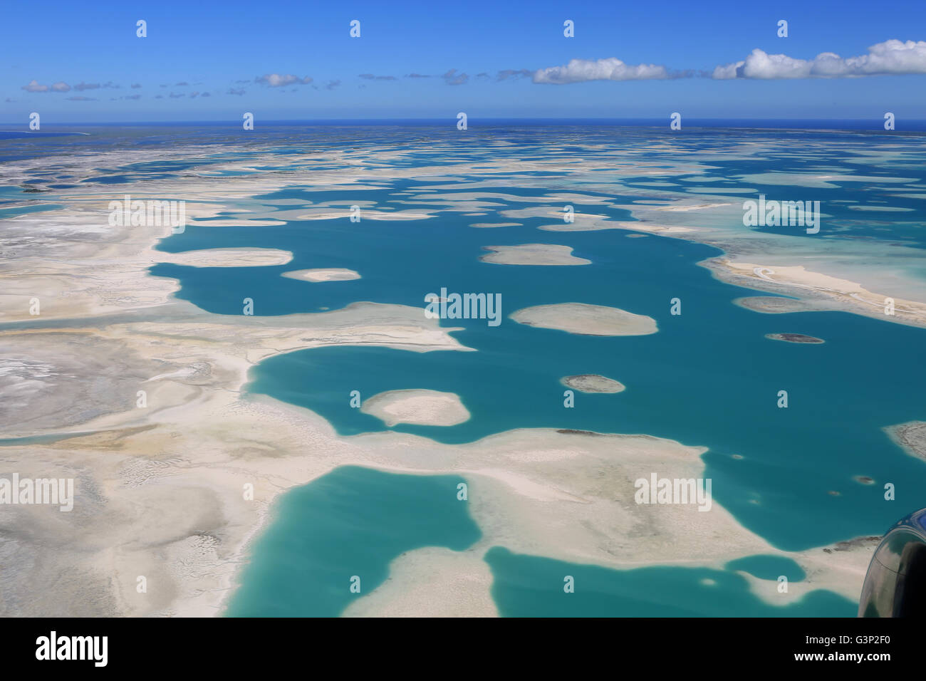 Aerial view of blue lagoon of Christmas Island (Kiritimati Stock ...