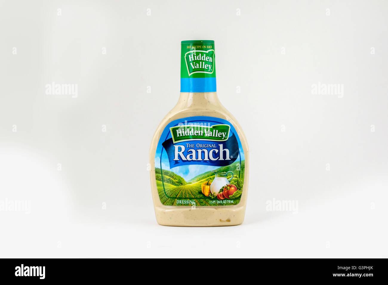 A plastic bottle of Hidden Valley Ranch dressing, isolated on white. Stock Photo