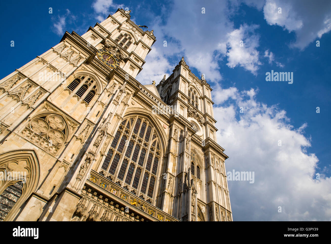 Looking up at the magnificent Westminster Abbey in London. Stock Photo