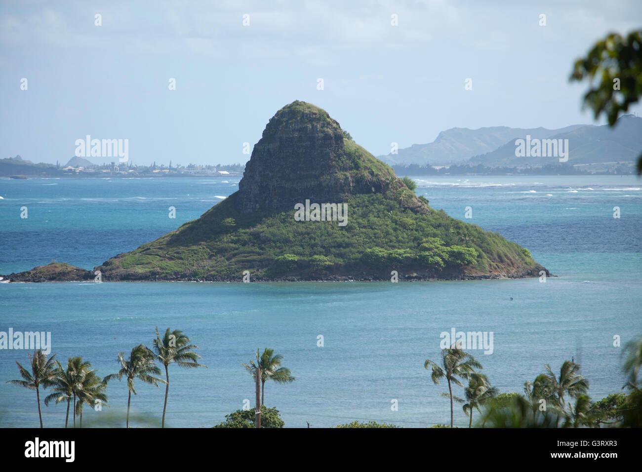 View of Mokoli`i Island and Kaneohe Bay from high point at Kualoa Ranch Stock Photo