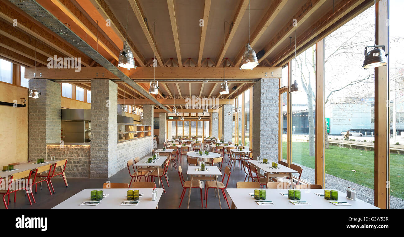 Restaurant interior with full-height glazing. The Green Room, London, United Kingdom. Architect: Benjamin Marks, - Stock Image