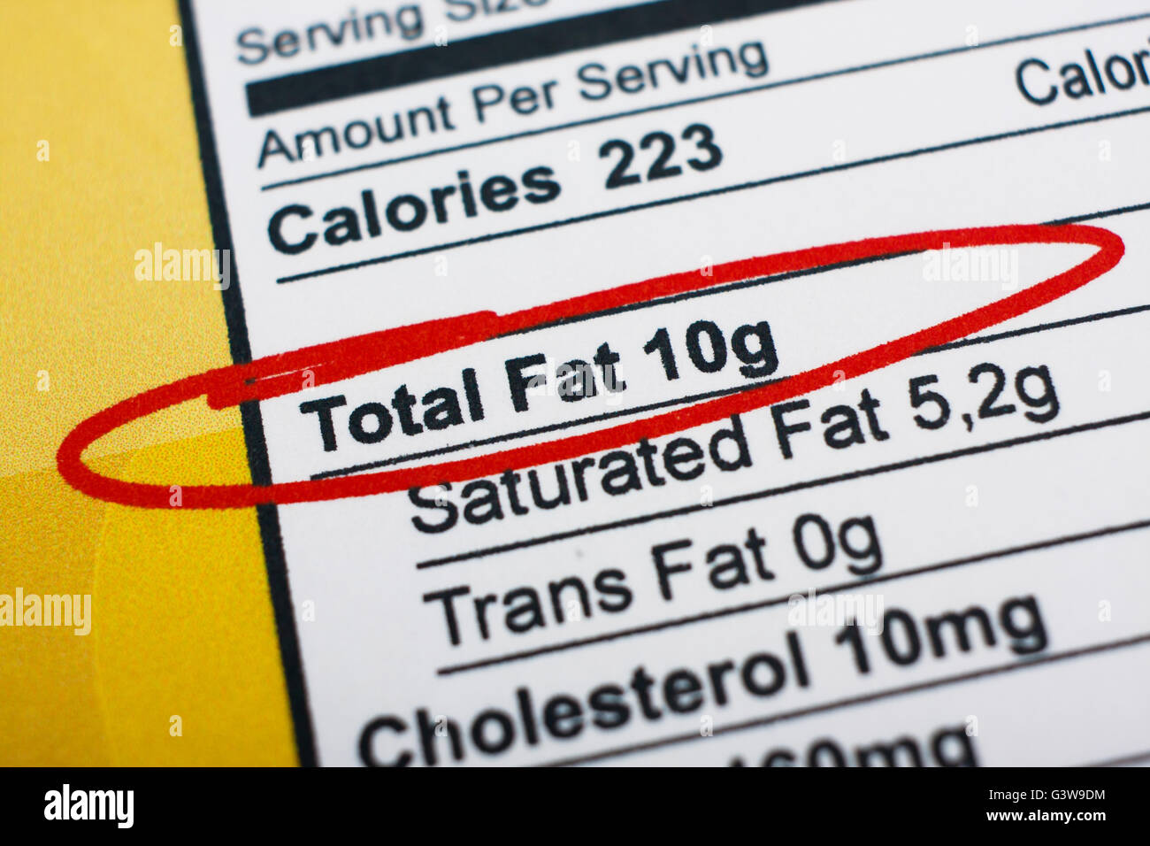 Photo of a nutrition facts label. High amount fat in food - Stock Image