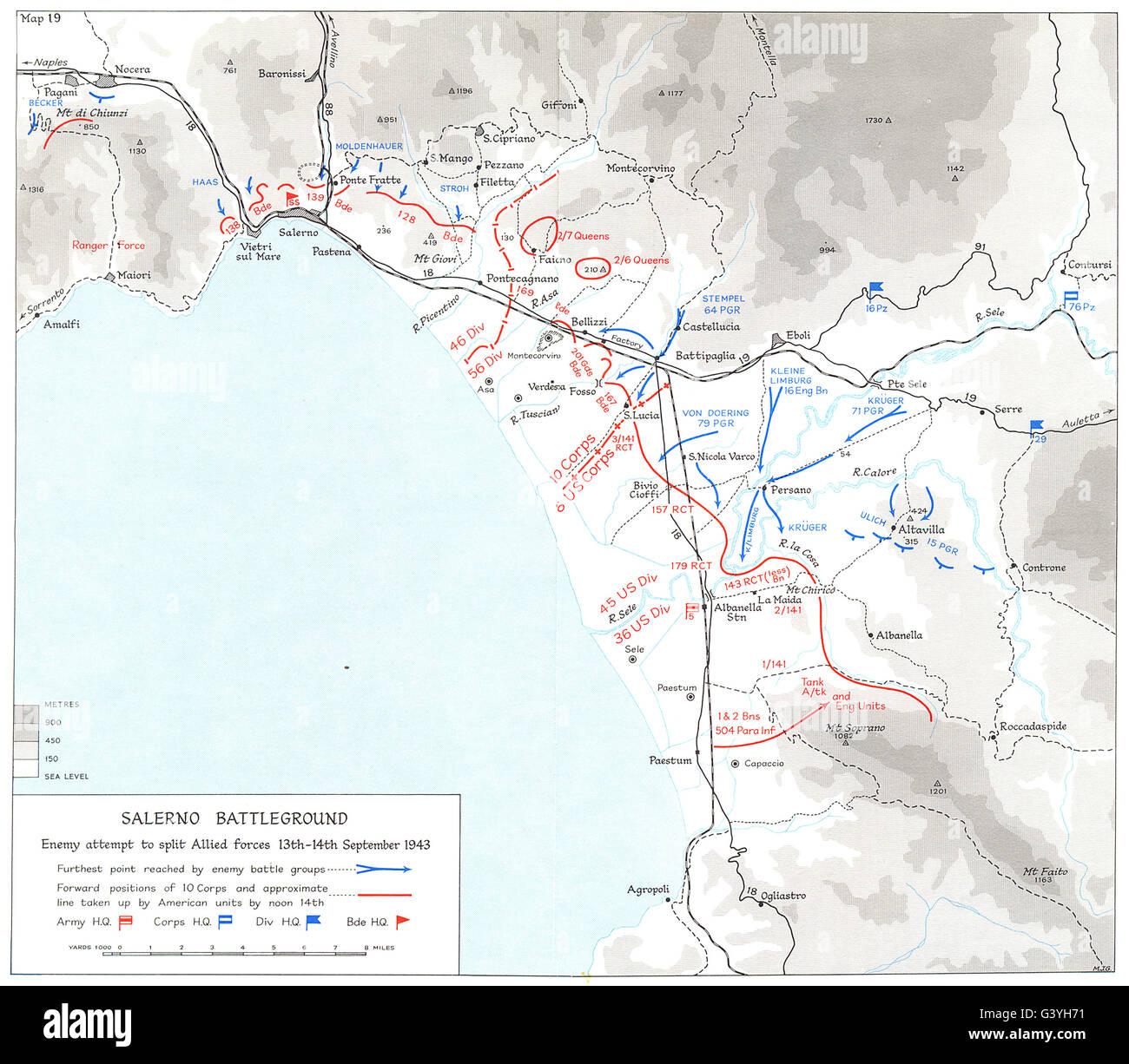 ITALY: Battle Salerno Beachhead (9th to 16th Sep 1943) : Battleground, 1973 map - Stock Image